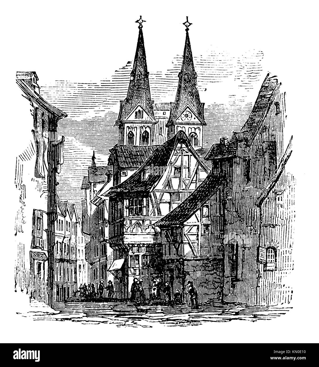 Boppard town in Rhein-Hunsruck-Kreis, Rhineland-Palatinate, Germany, old engraved illustration of the town, Boppard, - Stock Image