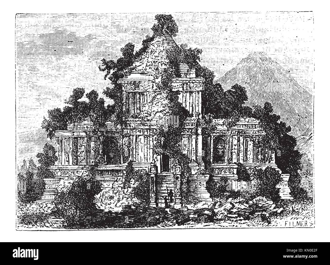 The large Temple at Brambanan, Indonesia, old engraved illustration of the large Temple at Brambanan, Indonesia, - Stock Image