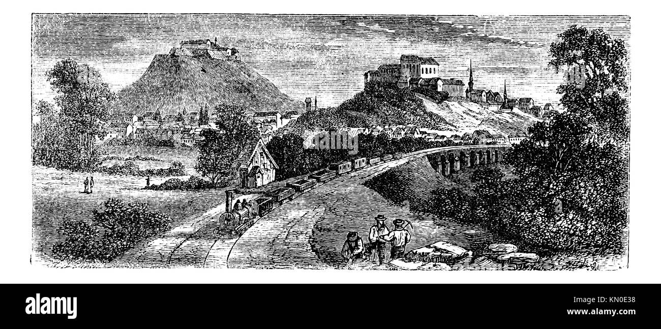 Brunn or Brno, capital city of Moravia, Czech Republic Vintage engraving  Old engraved illustration of Brno during - Stock Image
