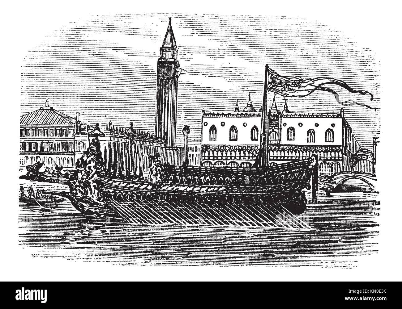Bucentaur, galley, doges of Venice, old engraved illustration of Bucentaur, galley, doges of Venice, 1890s - Stock Image