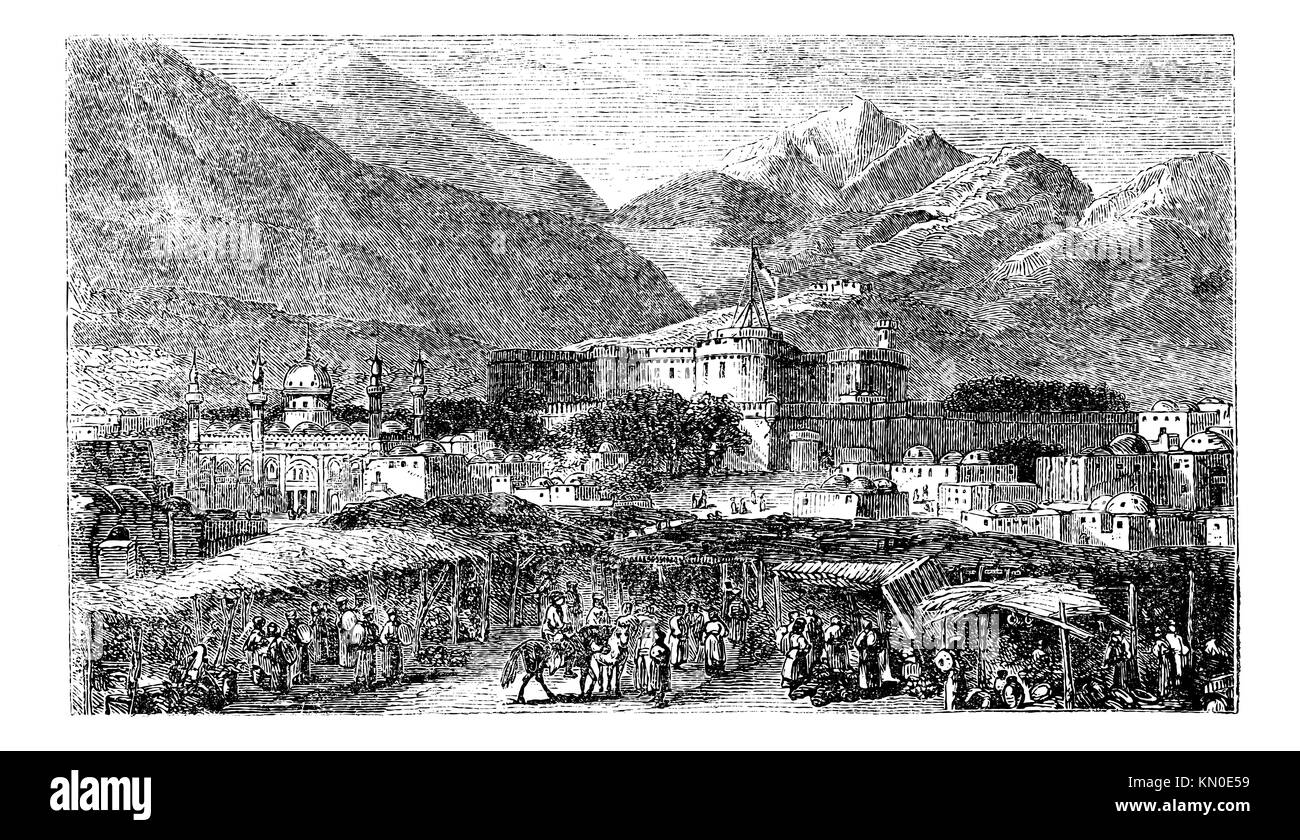 Kandahar capital city of province Afghanistan vintage engraving  Old engraved illustration of mountains and residential Stock Photo