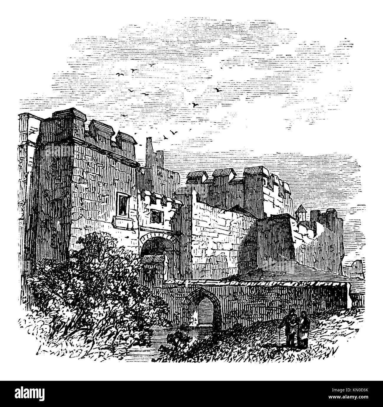 Entrance of the castle Carlisle, in Carlisle, county of Cumbria, United Kingdom vintage engraving, 1890s  Old engraved - Stock Image