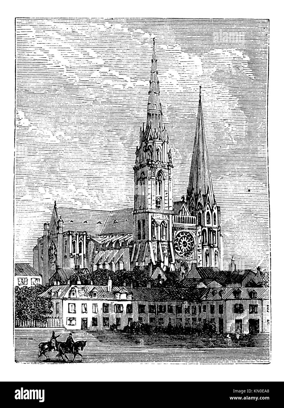 Chartres Cathedral, in Chartres, France, during the 1890s, vintage engraving  Old engraved illustration of Chartres Stock Photo