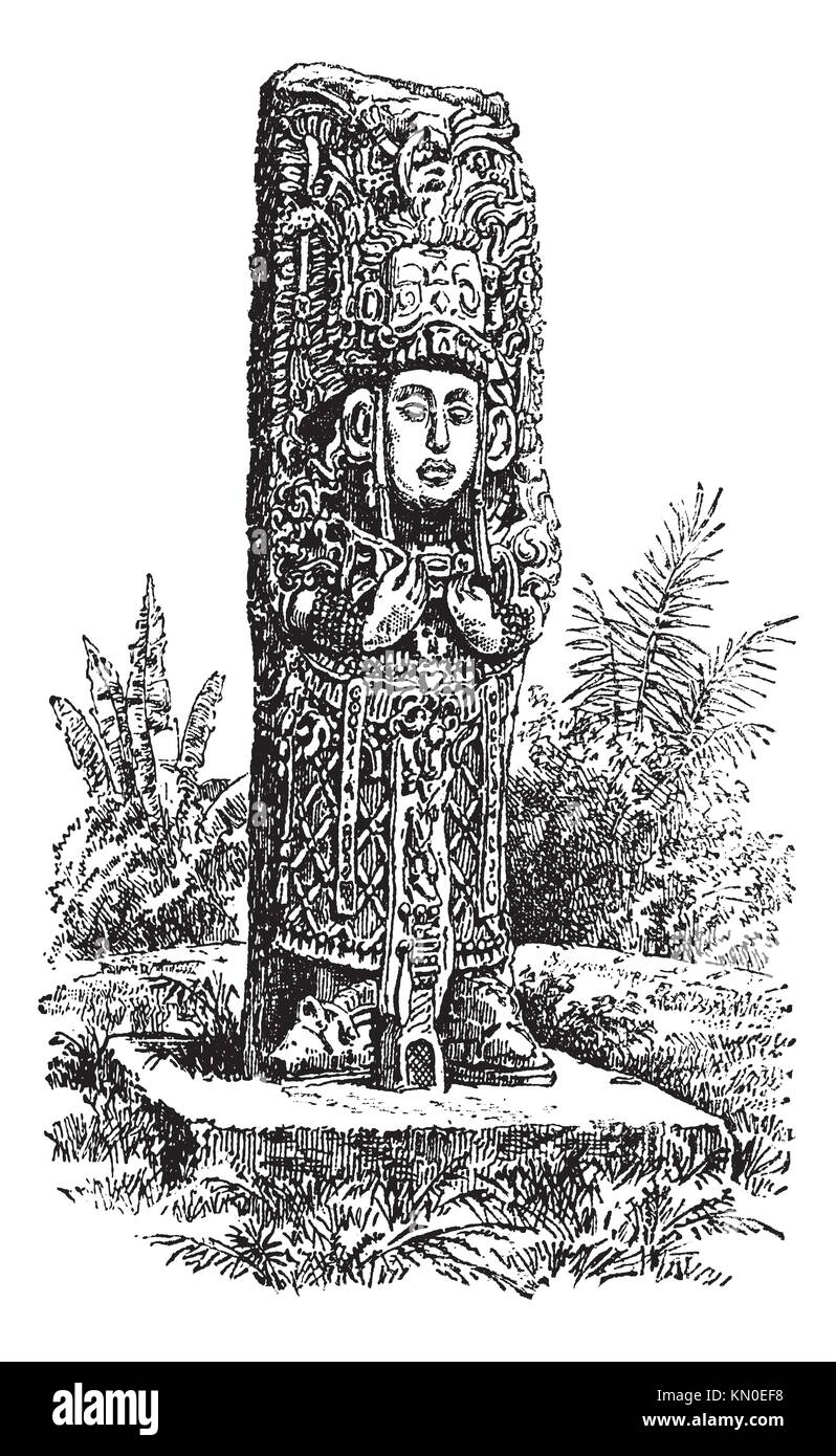 Copan Monolith in Honduras, during the 1890s,vintage engraving  Old engraved illustration of a Copan Monolith - Stock Image