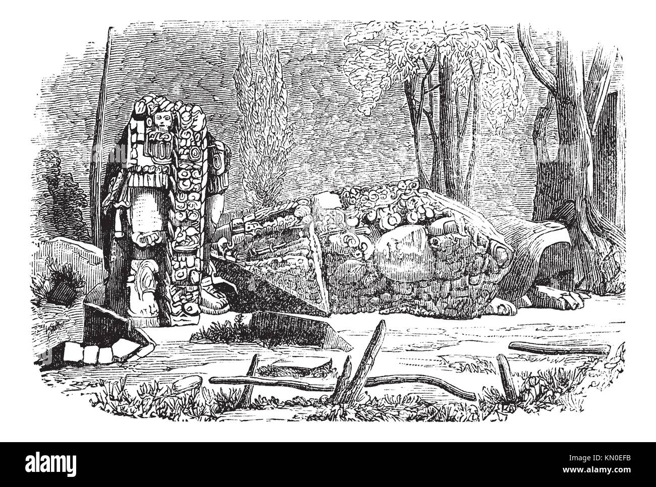 Copan in Honduras, during the 1890s,vintage engraving  Old engraved illustration of Copan showing stelae sculpture - Stock Image