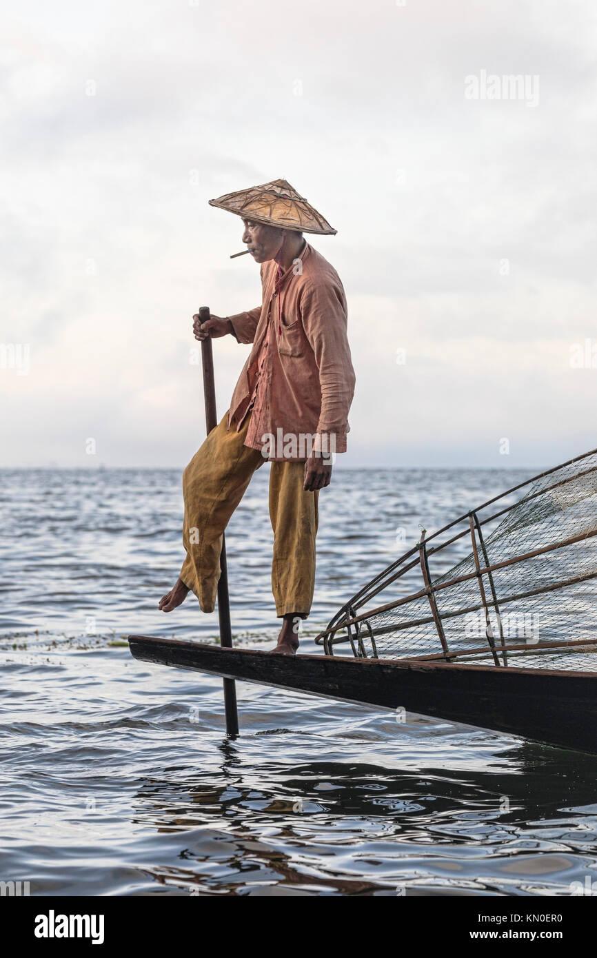 Fisherman, Inle Lake, Myanmar, Asia - Stock Image