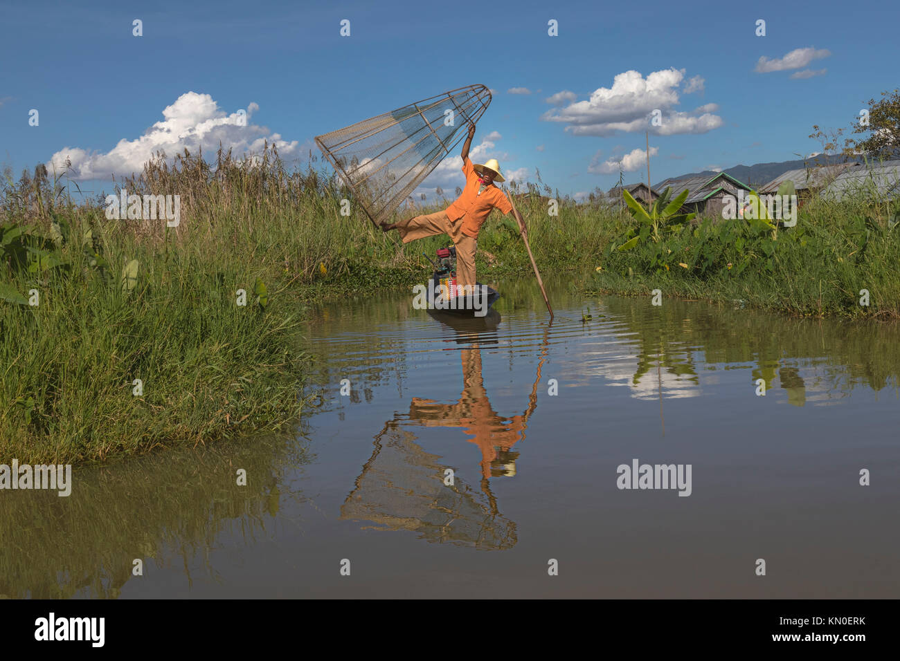 Fisherman, Inle Lake, Myanmar, Asia - Stock Image