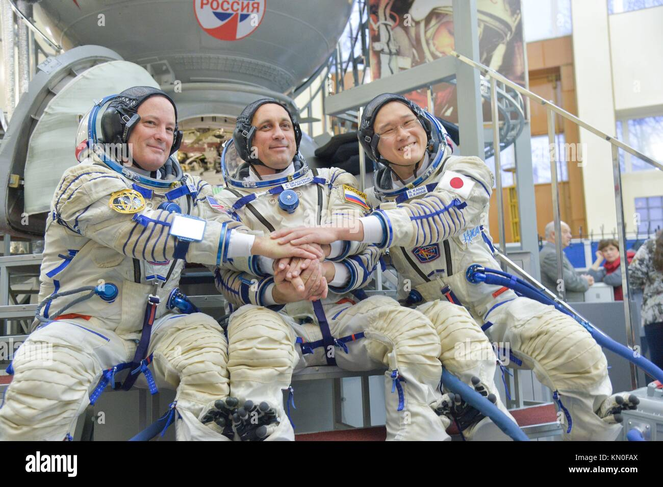 NASA International Space Station Expedition 54-55 prime crew members (L-R) American astronaut Scott Tingle, Russian Stock Photo
