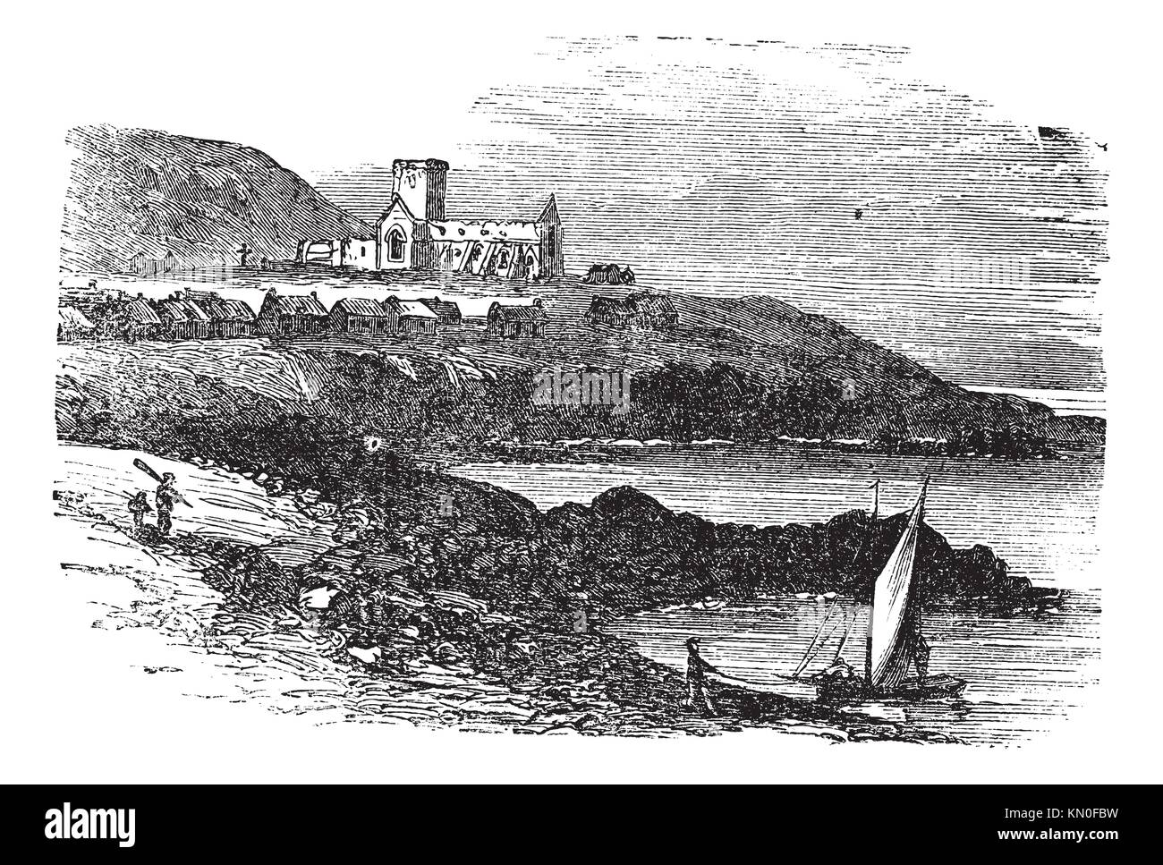 The ruins of St Mary´s Abbey in Iona, Scotland, during the 1890s, vintage engraving  Old engraved illustration - Stock Image