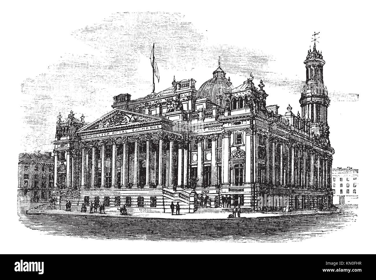 Royal Exchange in Manchester, England, during the 1890s, vintage engraving  Old engraved illustration of Royal Exchange - Stock Image