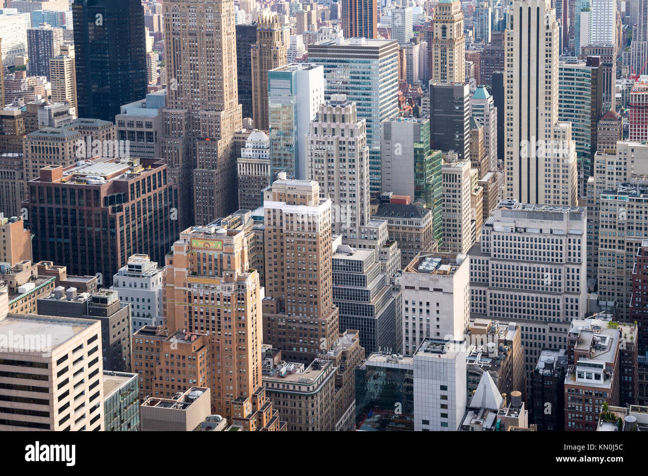 Aerial view of the urban skyscraper canyons of the New York City skyline in Midtown Manhattan Stock Photo