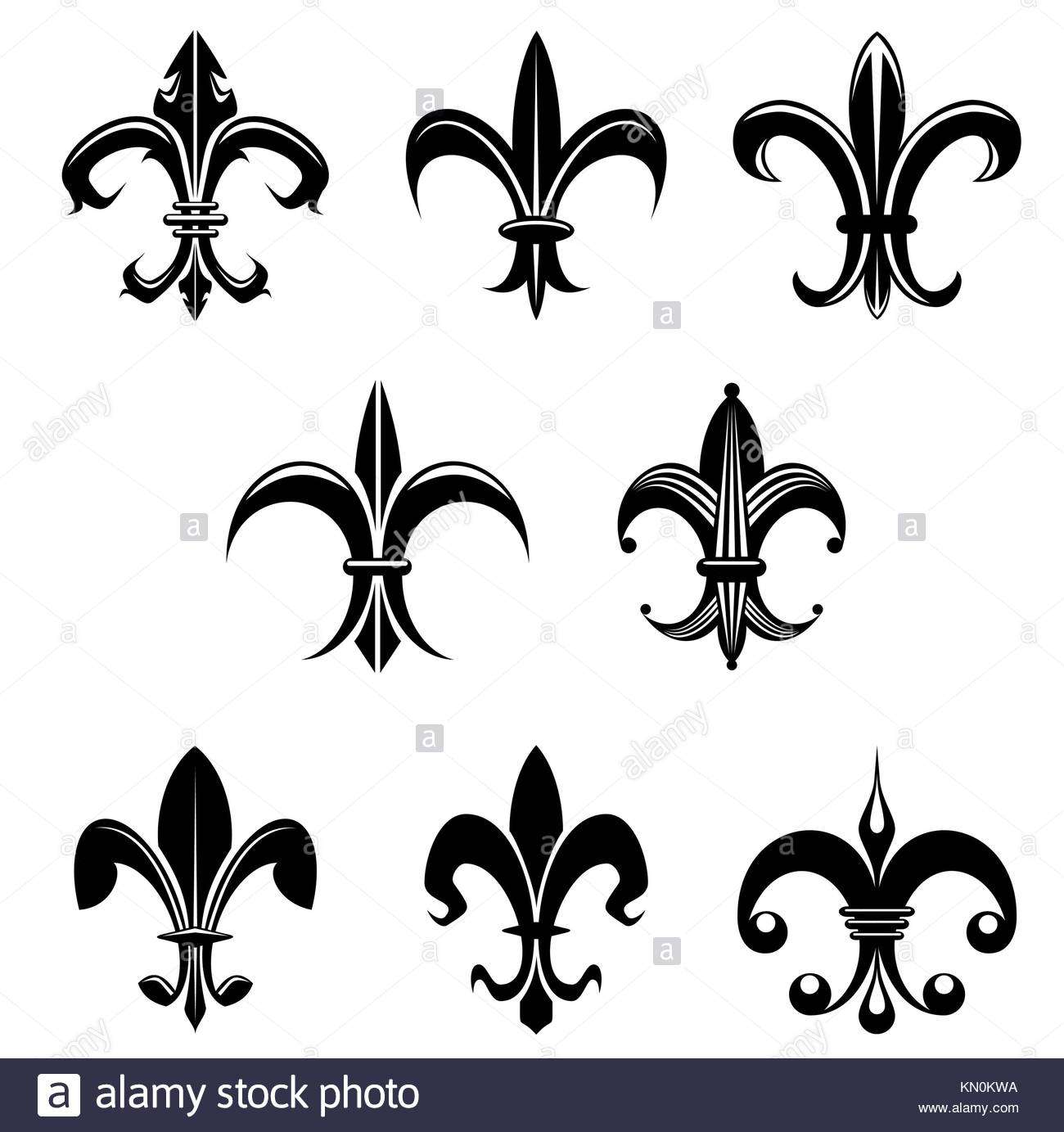 Lily flower vector symbol black and white stock photos images alamy royal french lily symbols for design and decorate stock image izmirmasajfo