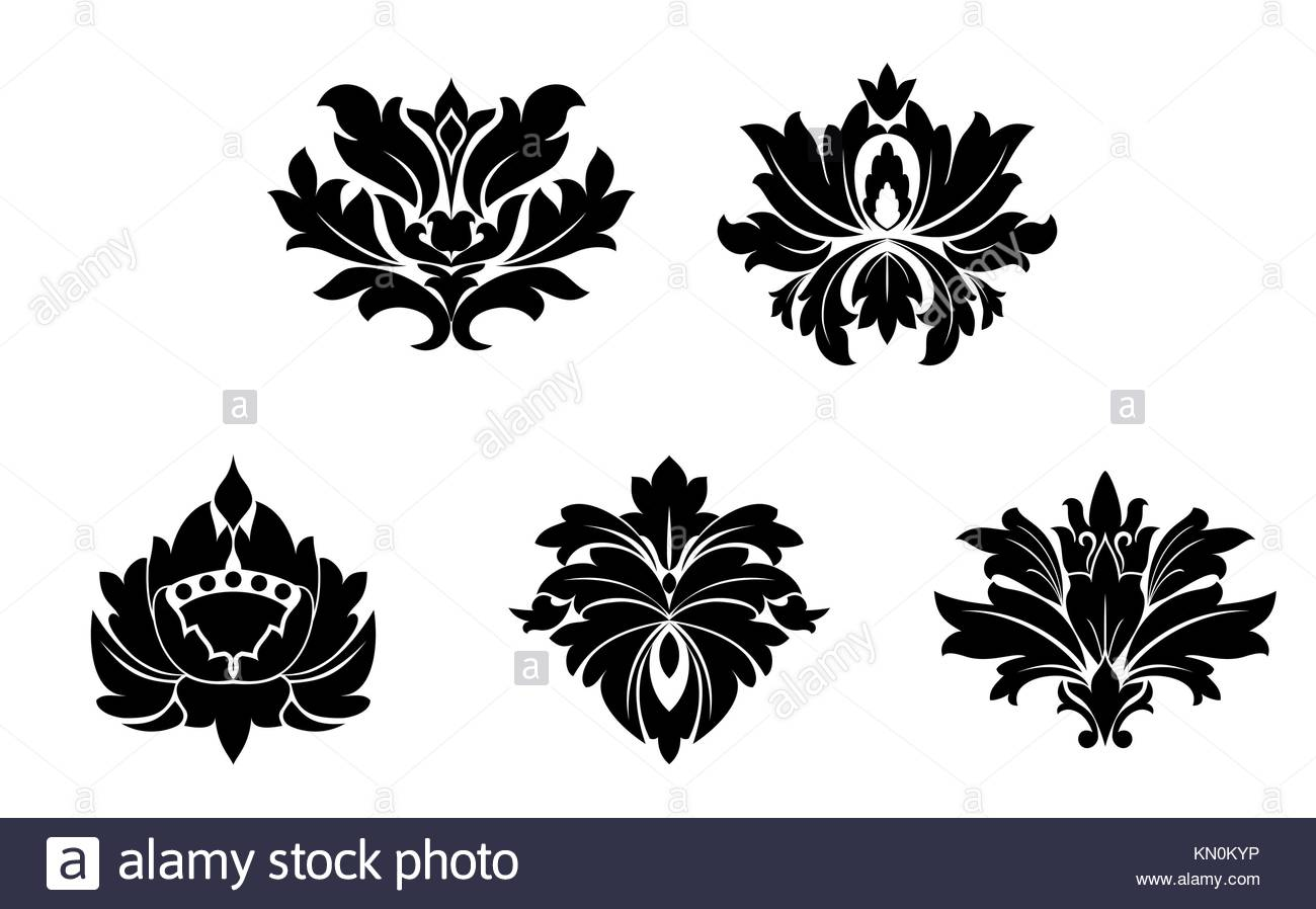 Flower frame black white square black and white stock photos set of flower patterns isolated on white stock image mightylinksfo