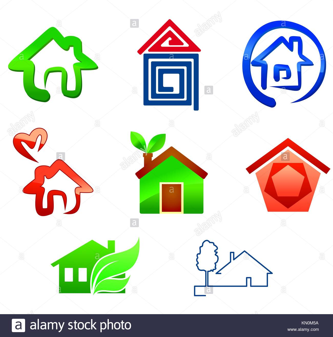 Real Estate Symbols For Design Isolated On White Stock Photo