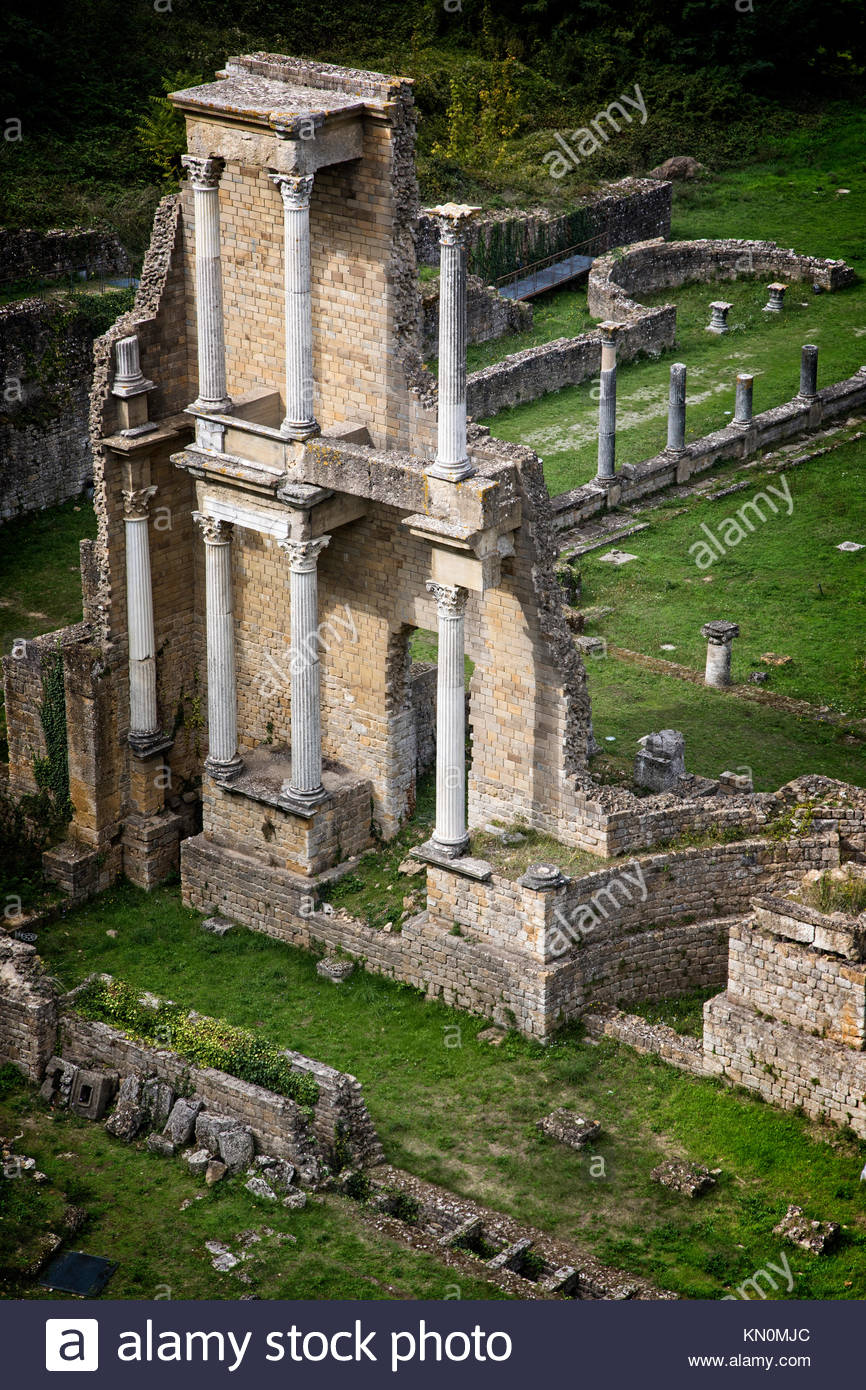 The Roman Theater ruins at Volterra, Italy. - Stock Image