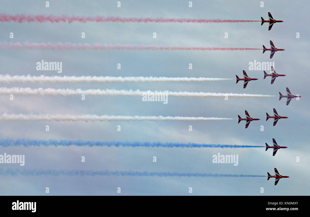 Red Arrows display team at Clacton airshow August 2015 - Stock Image