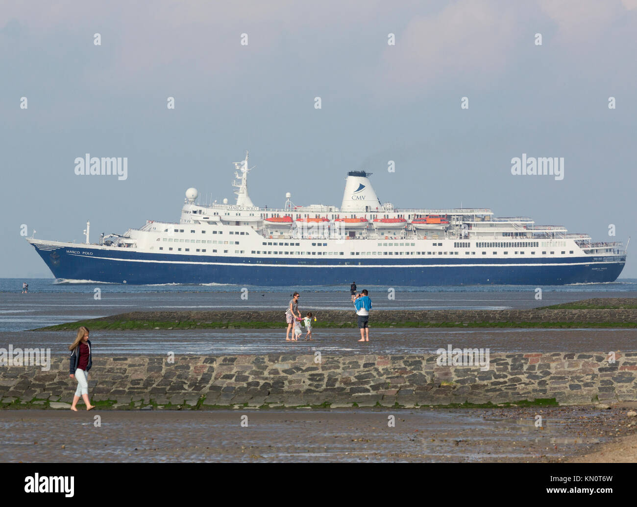 The cruise ship Marco Polo enters The North Sea from the Elb - Stock Image