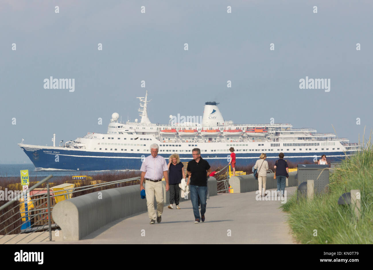 The cruise ship Marco Polo enters The North Sea from the Elb Stock Photo