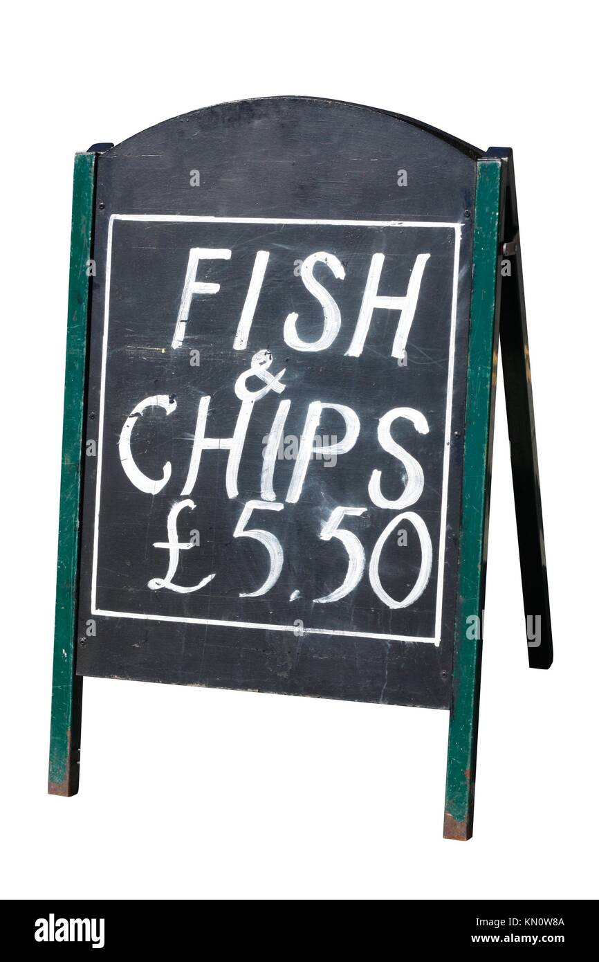 Fish and chips sign - Stock Image