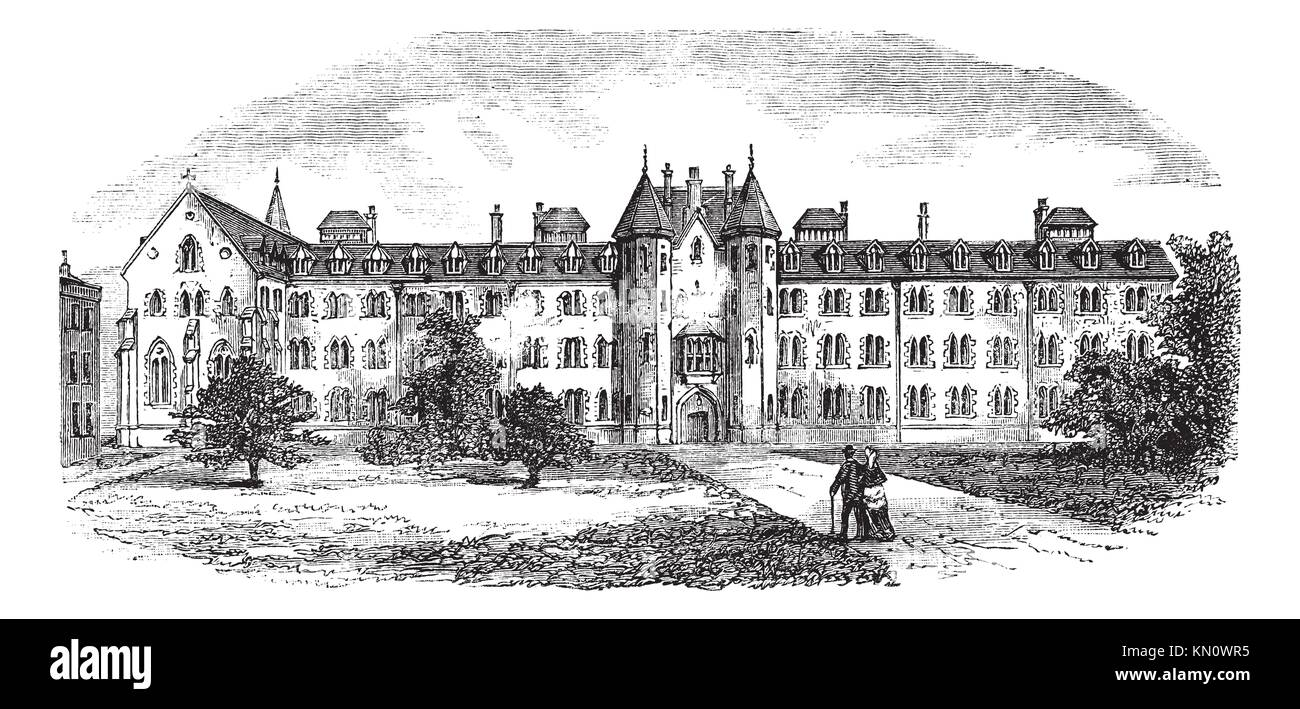 St Patrick´s College or Maynooth College or Royal College of St  Patrick Maynooth in Ireland, during the 1890s, - Stock Image