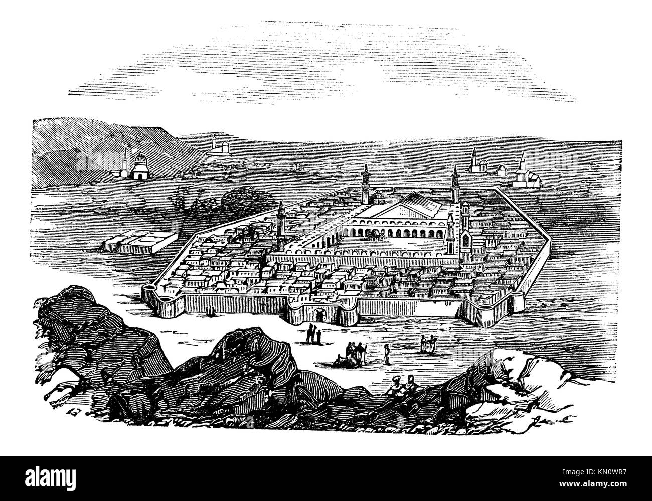 Medina, Saudi Arabia, vintage engraved illustration  Holy city and burial place of Islamic Prophet Muhammad,Trousset - Stock Image