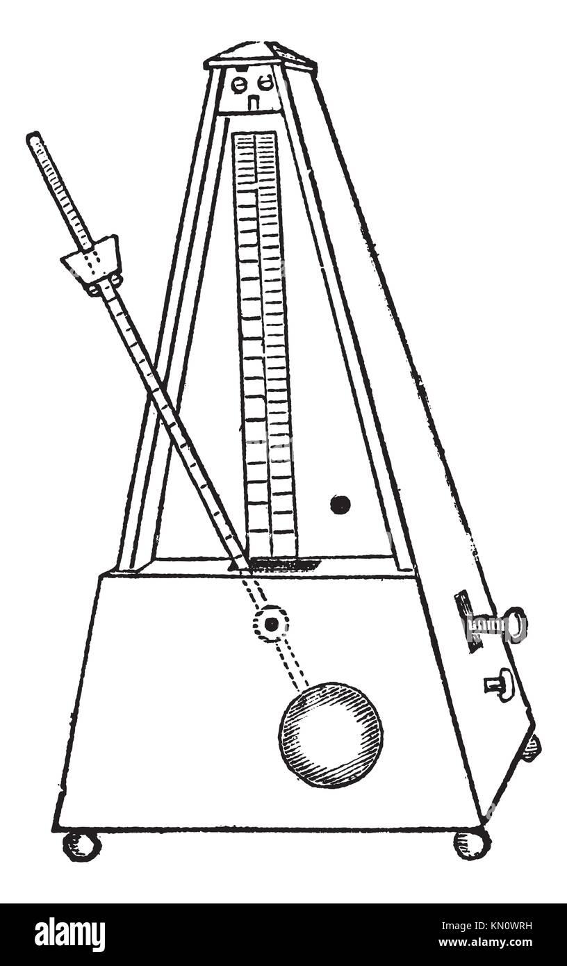 Metronome isolated on white, vintage engraved illustration  Trousset encyclopedia 1886 - 1891 - Stock Image