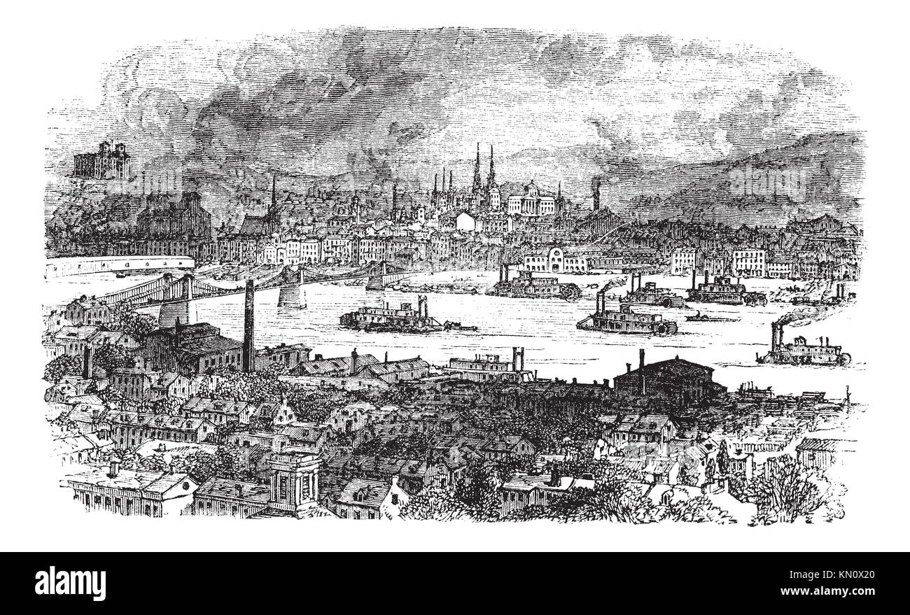 City of Pittsburgh, vintage engraved illustration  River, bridge and buildings at Pittsburgh, Pennsylvania during - Stock Image