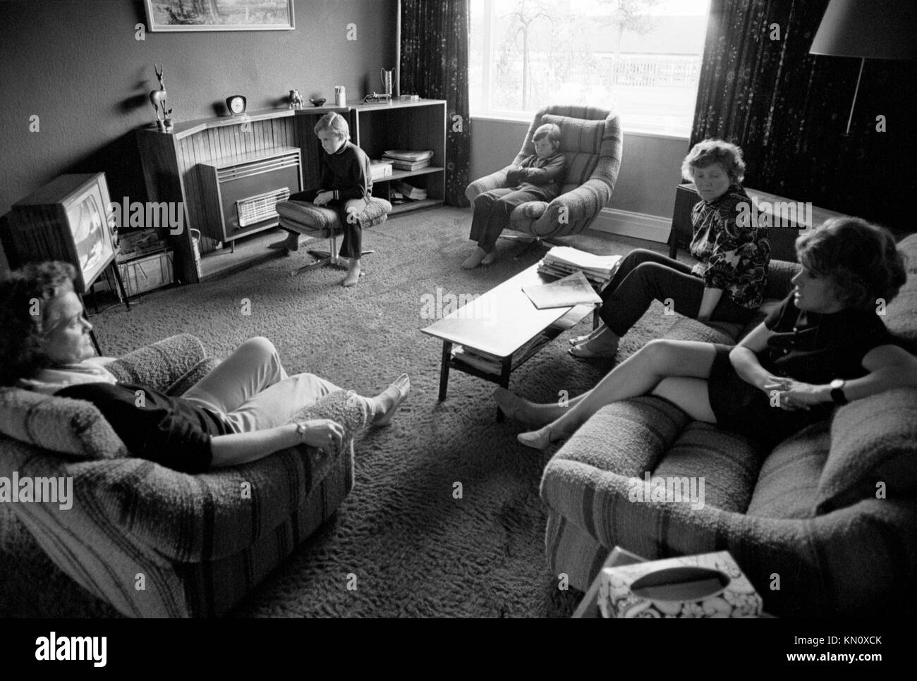 Family Watching Tv Black And White Stock Photos Family Watching