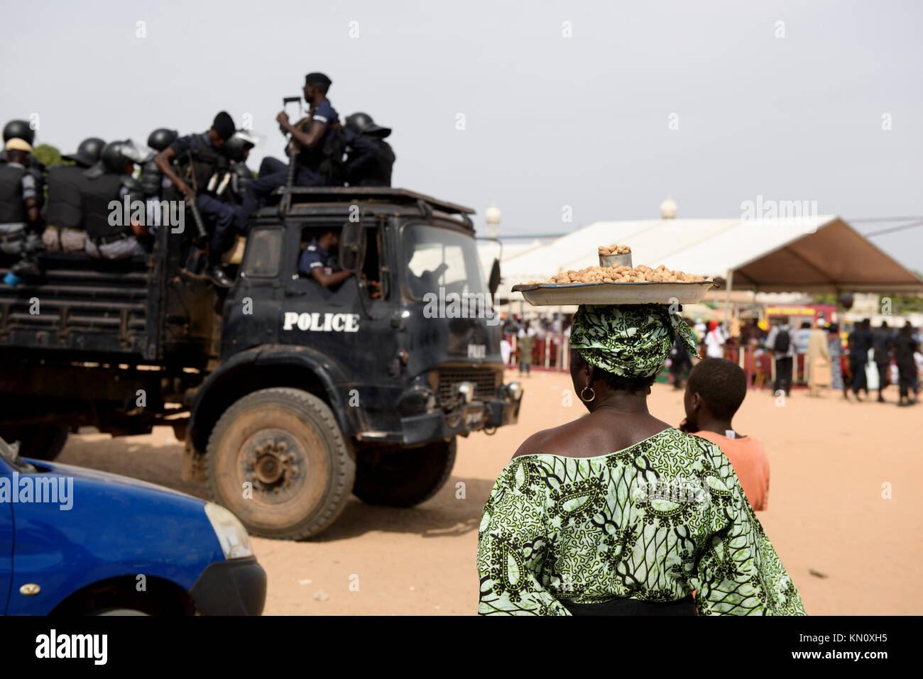 Armed Gambian Police safeguarding H.E President's Adama Barrow's One Year Anniversary celebrations at the - Stock Image