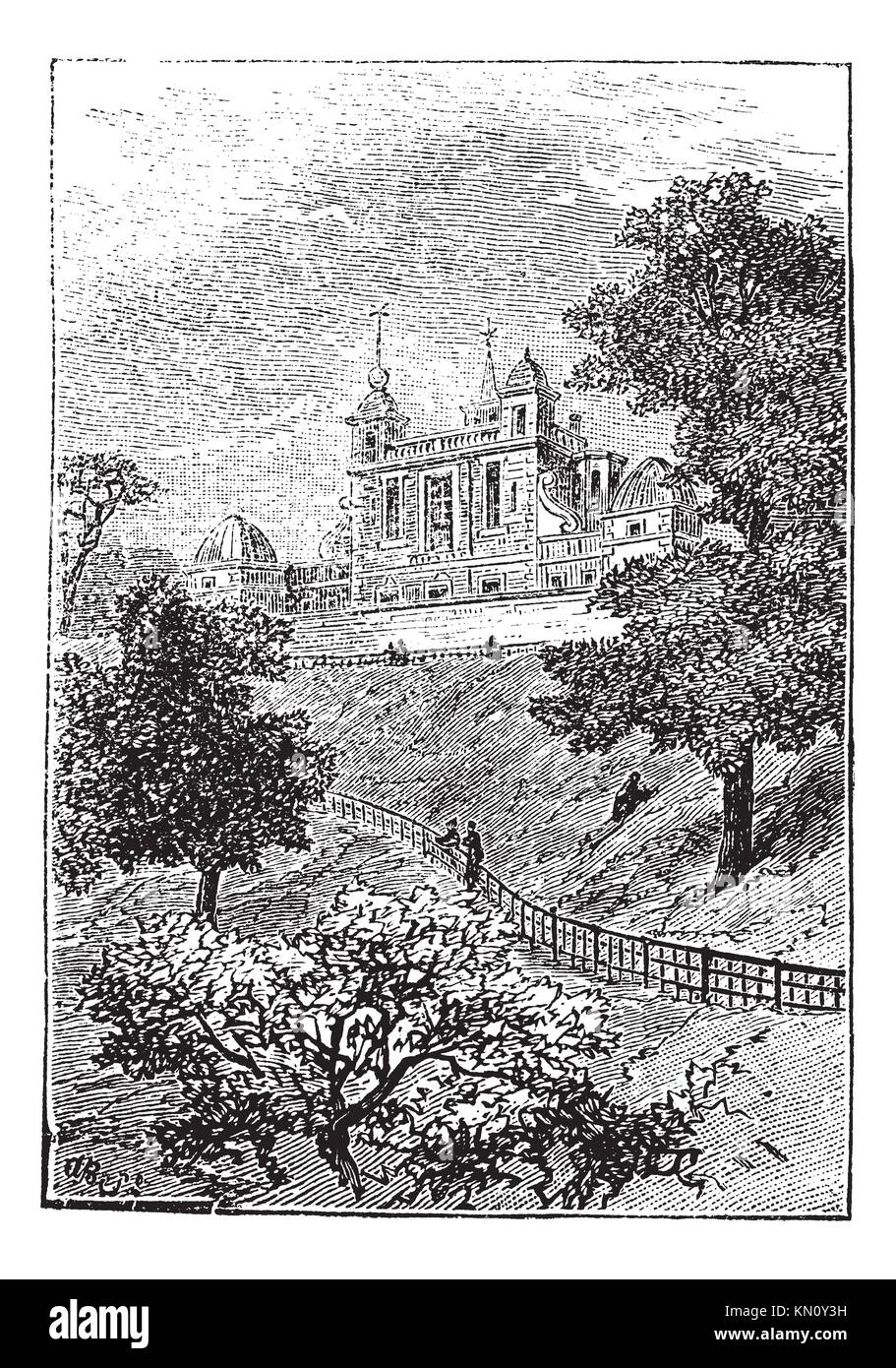 Royal Observatory in Greenwich, London, England, UK, vintage engraved illustration  Trousset encyclopedia 1886  - Stock Image