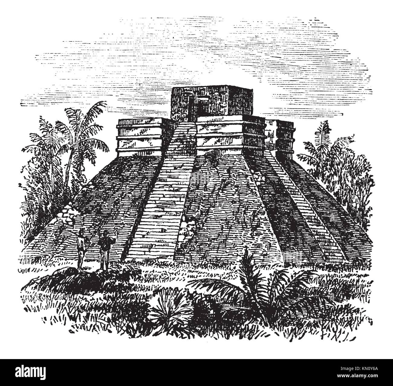Palenque Pyramid temple in Mexico, during the 1890s, vintage engraving  Old engraved illustration of Palenque Pyramid - Stock Image