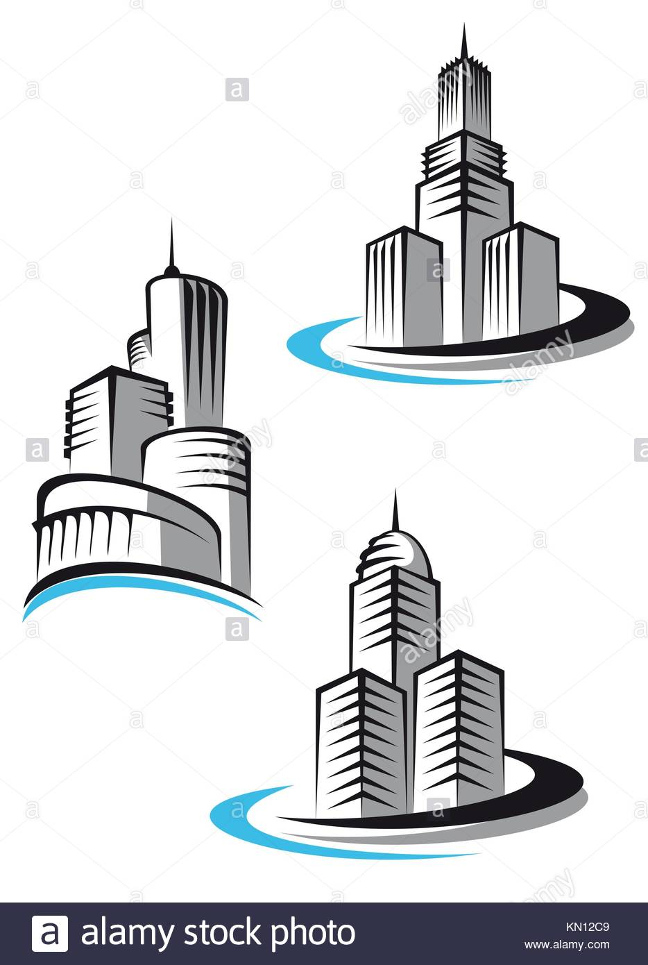 Skyscrapers And Real Estate Symbols For Design And Decorate Stock