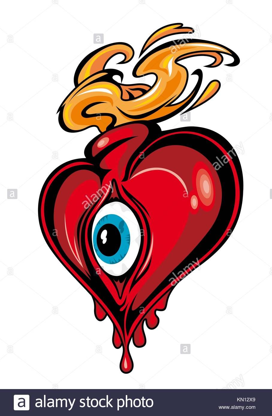 Red Heart With Eye For Tattoo Design