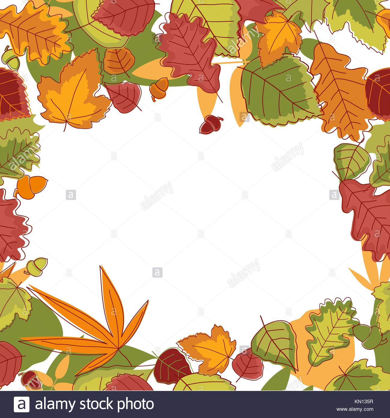 Autumn falling leaves frame for thanksgiving or seasonal design ...