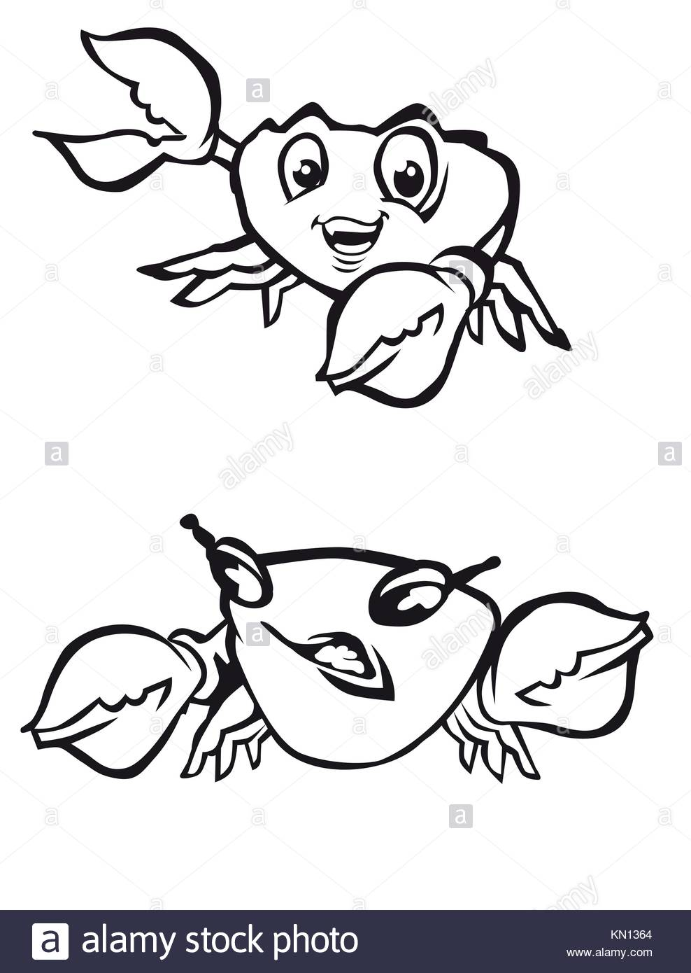 Cartoon crabs with claws as a symbols of seafood - Stock Image