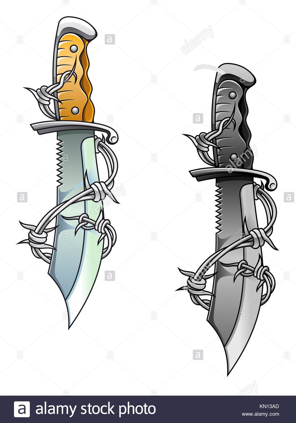 Vintage sharp dagger with barbed wire for tattoo design Stock Photo ...