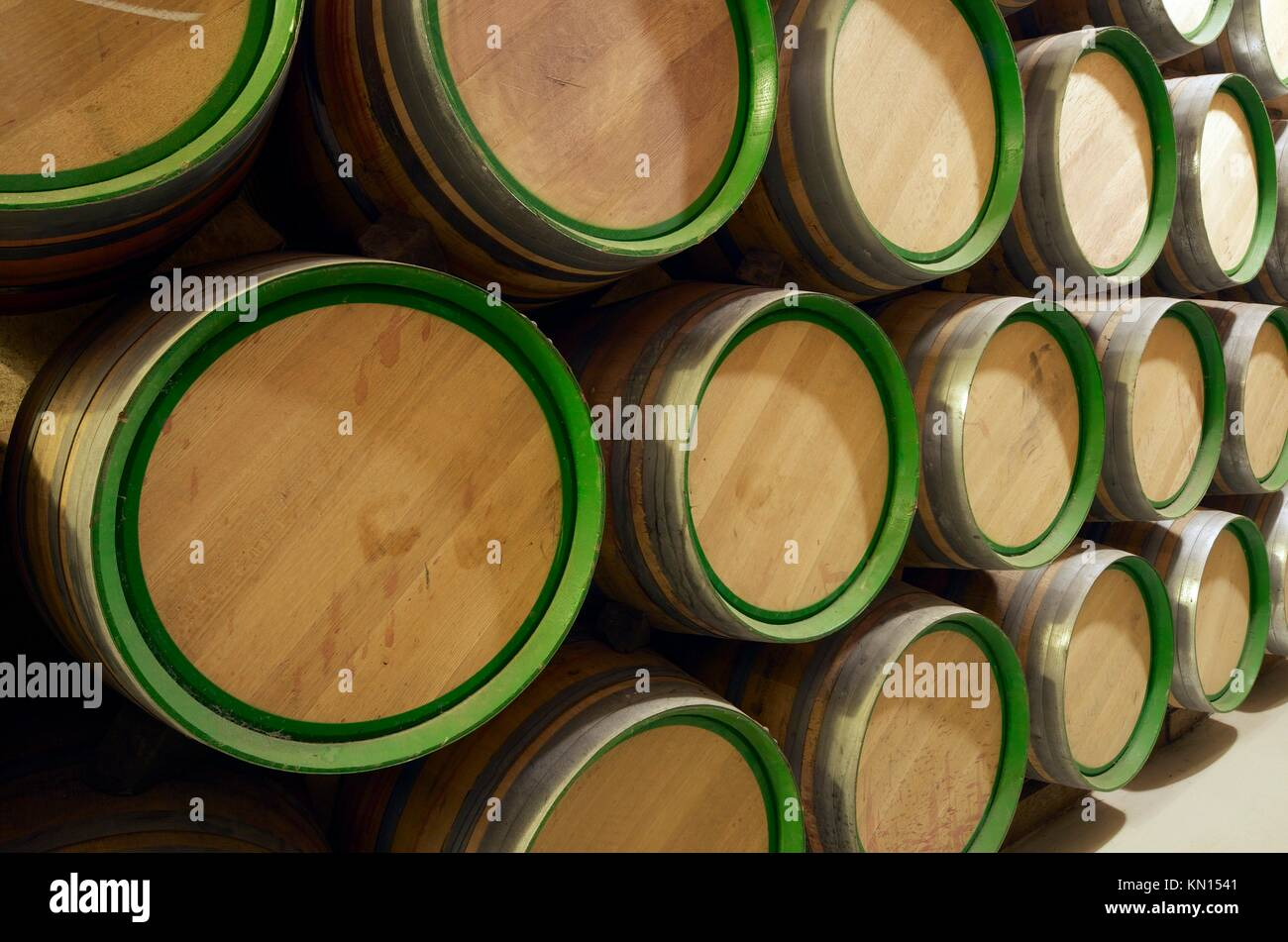 stack wine barrels. Stacked Wine Barrels To Ferment The Wine, La Rioja, Spain Stack