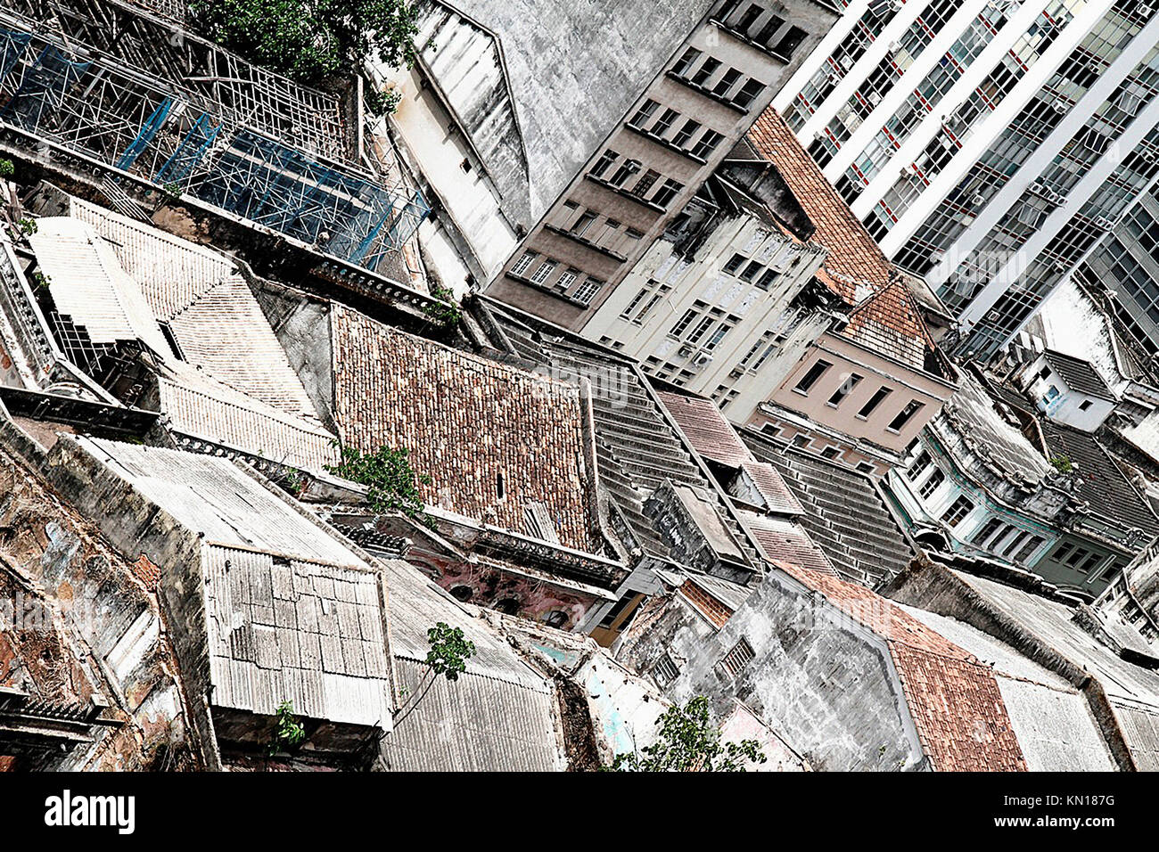 Rundown Building Decay Stock Photos Rundown: Rundown Buildings In Dowtown Salvador De Bahia, Brazil