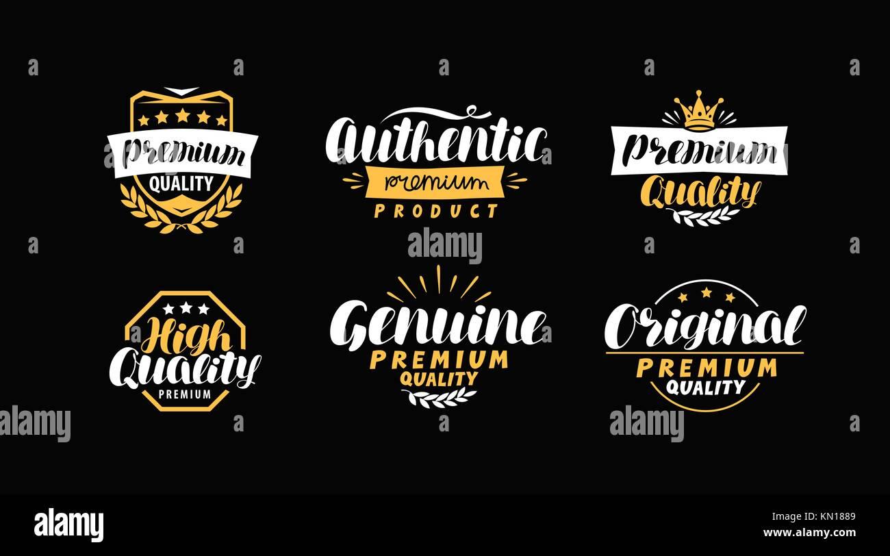 Description of goods. Typography design set icons or symbols. Lettering vector illustration - Stock Image