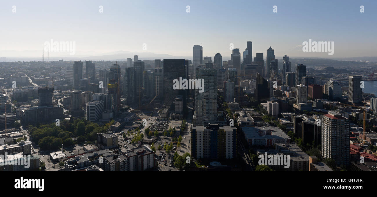View of central Seattle from the Space Needle - Stock Image