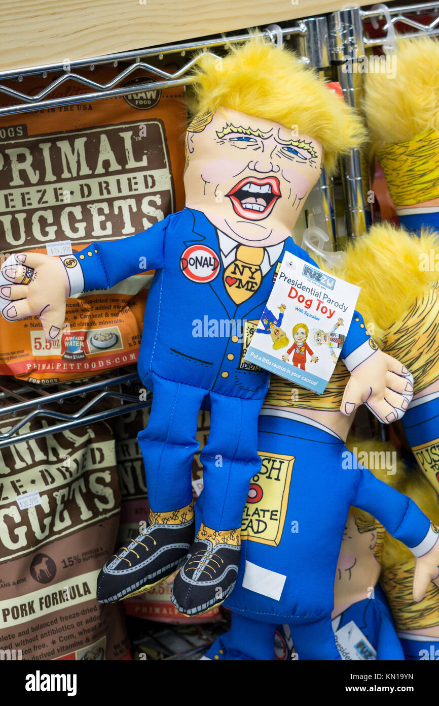 Donald Trump dog toys for sale at a pet supply store on West