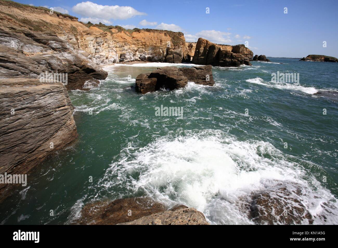 Brittany, Morbihan, Penestin, Pointe du Bile coast, France - Stock Image