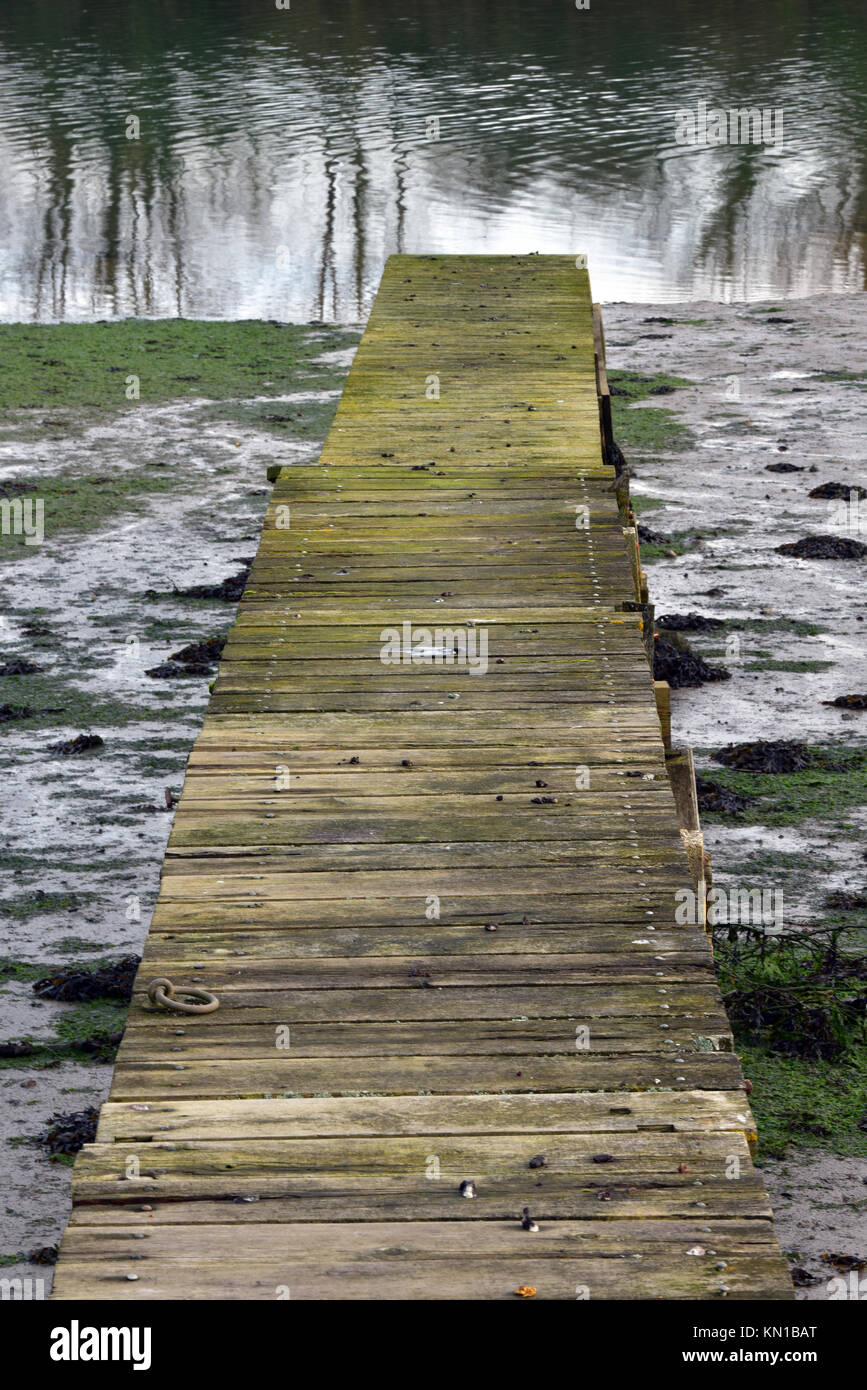 A ricket old wooden landing stage or jetty on the river medina on the Isle of Wight. Mossy and covered with algae - Stock Image