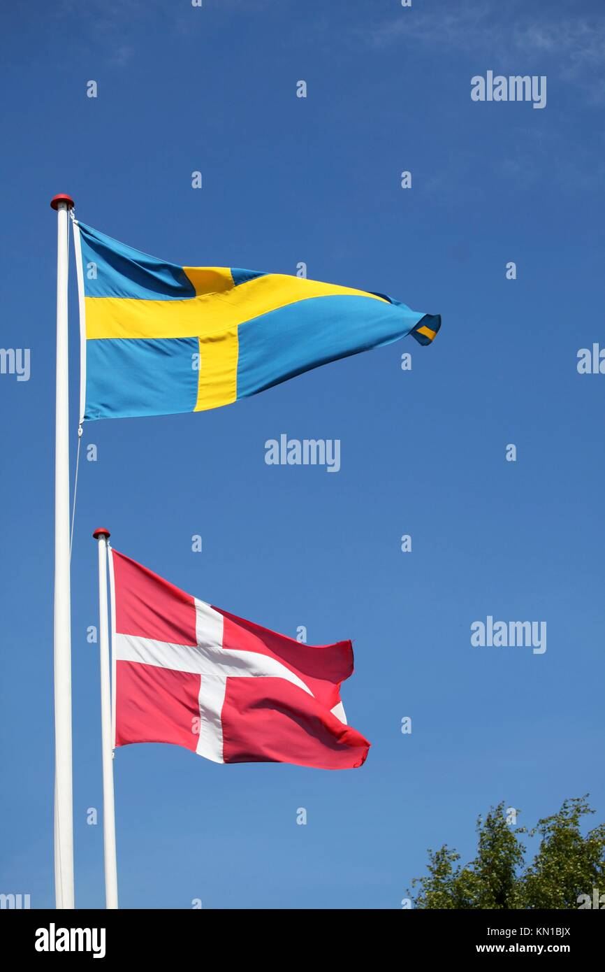 Close neighbours, Denmark and Sweden - Stock Image