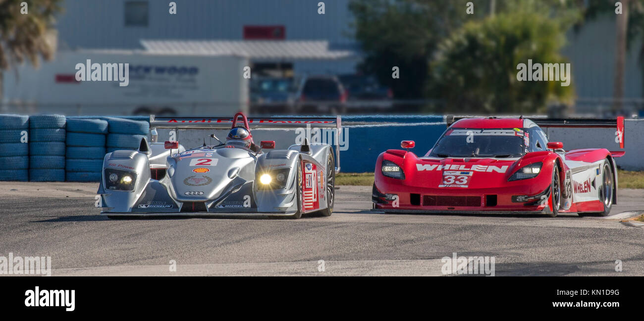 Race cars at the Classic 12 Hour & Sebring Historics ; Sebring Historics; ; at Sebring International Raceway - Stock Image