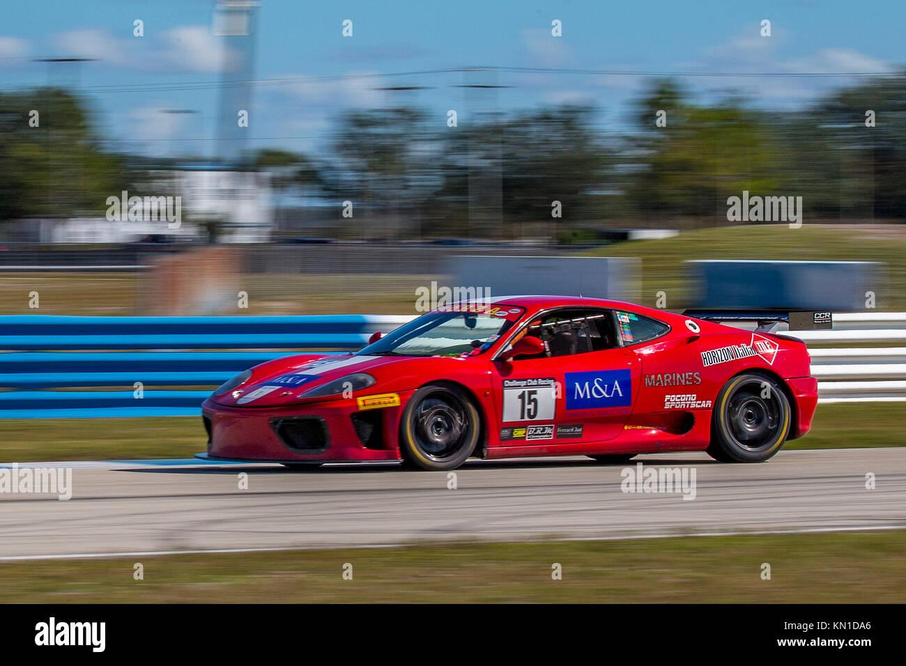 Race car at the Classic 12 Hour & Sebring Historics ; Sebring Historics; ; at Sebring International Raceway - Stock Image