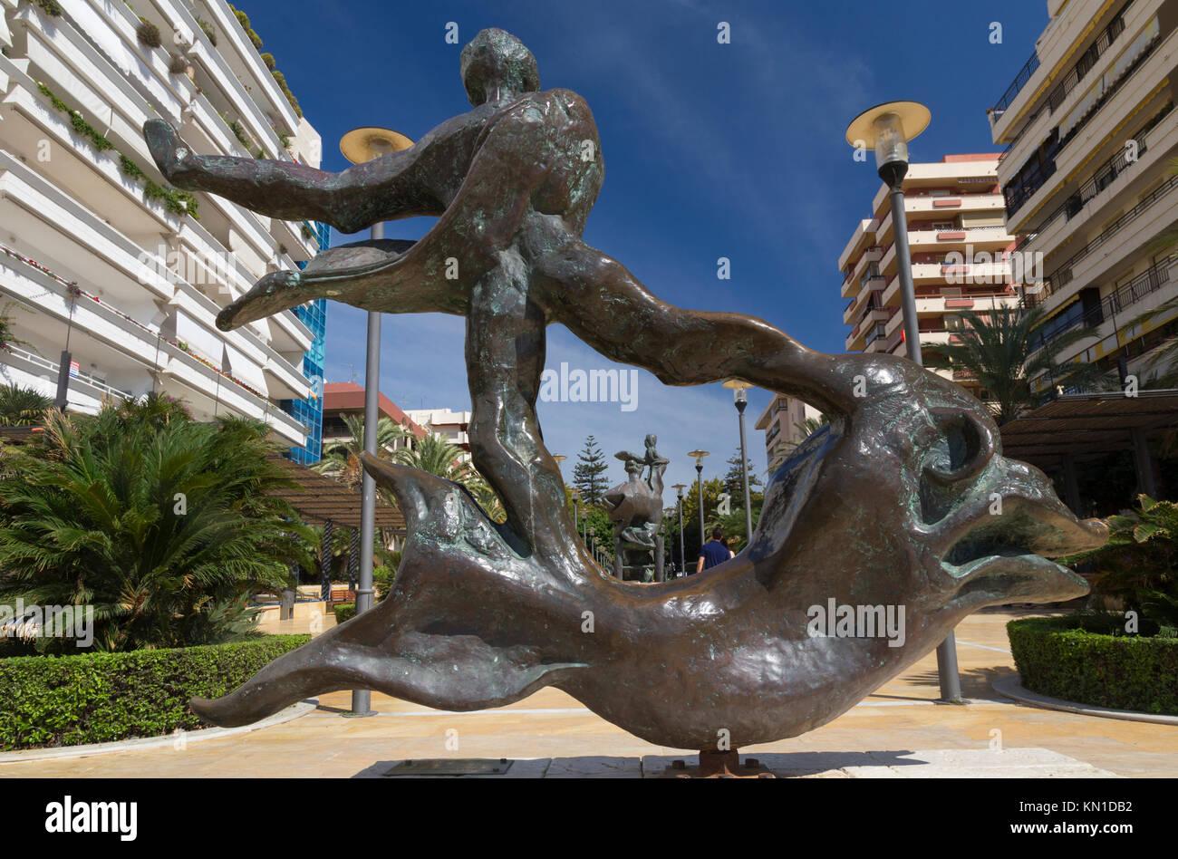 Hombre Sobre Delfín (Man above dolphin): One of Salvador Dali's sculptures in Avenida del Mar, Marbella, - Stock Image