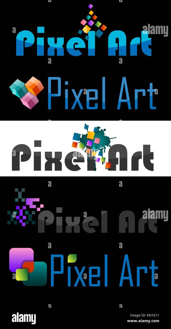 Pixel Art Logo Various Designs Vector Illustration Stock