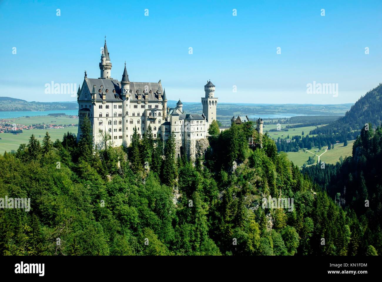 Neuschwanstein Castle was built by King Ludwig II, Fuessen, Schwangau, Allgaeu, Bavaria, Germany. - Stock Image