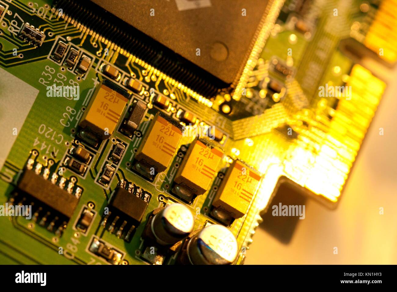 Integrated Circuit Computer Chips Stock Photos Detail Of A Printed Board Royalty Free Image Close View With